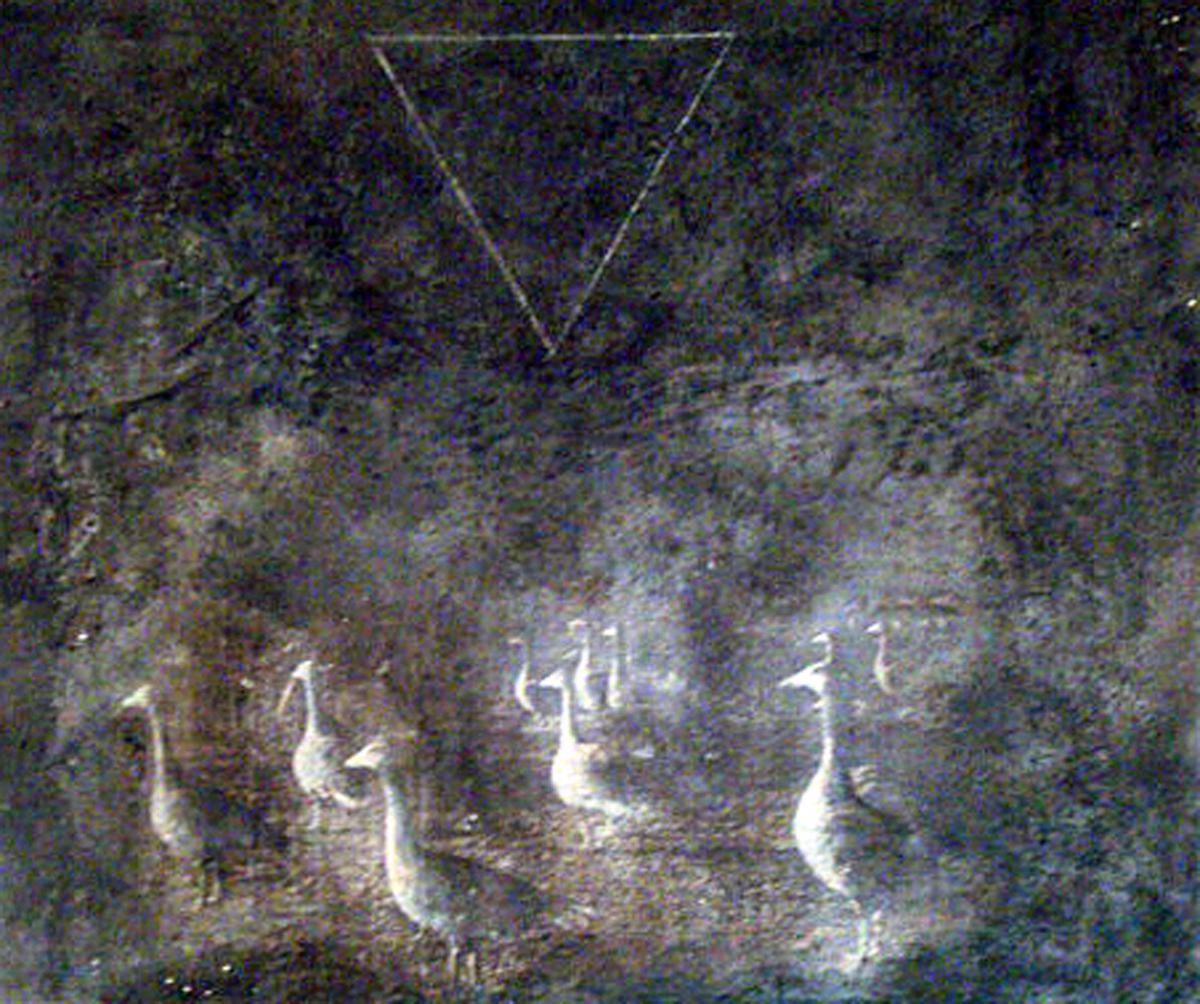 tecnica mista su tela parte prima del dittico oche con triangolo