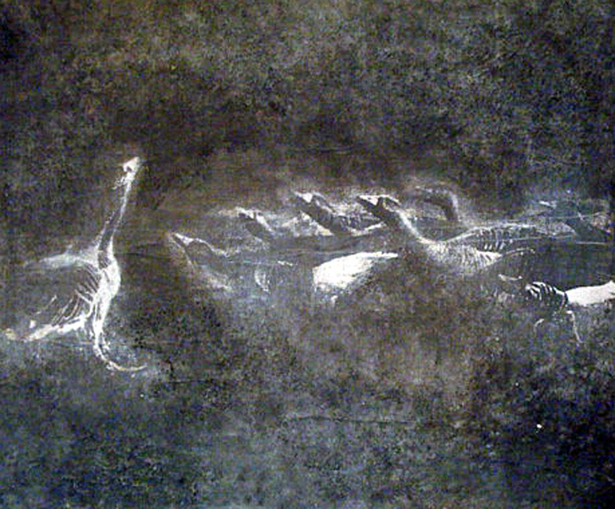 tecnica mista su tela parte seconda del dittico gruppo di oche
